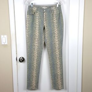 Boston Proper | Cream Blue Animal Skinny Jeans
